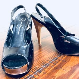 Peep-toe black patent sling back heels. (Size 6.5)
